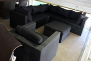 loungeset hoekbank + hocker wicker
